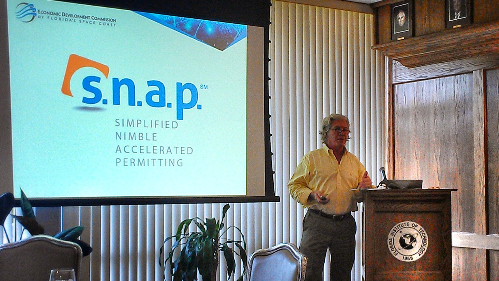Mr. Luke Miorelli, P.E. of the Economic Development Commission (EDC) of Space Coast presents the S.N.A.P. permitting process to AIA Architects.