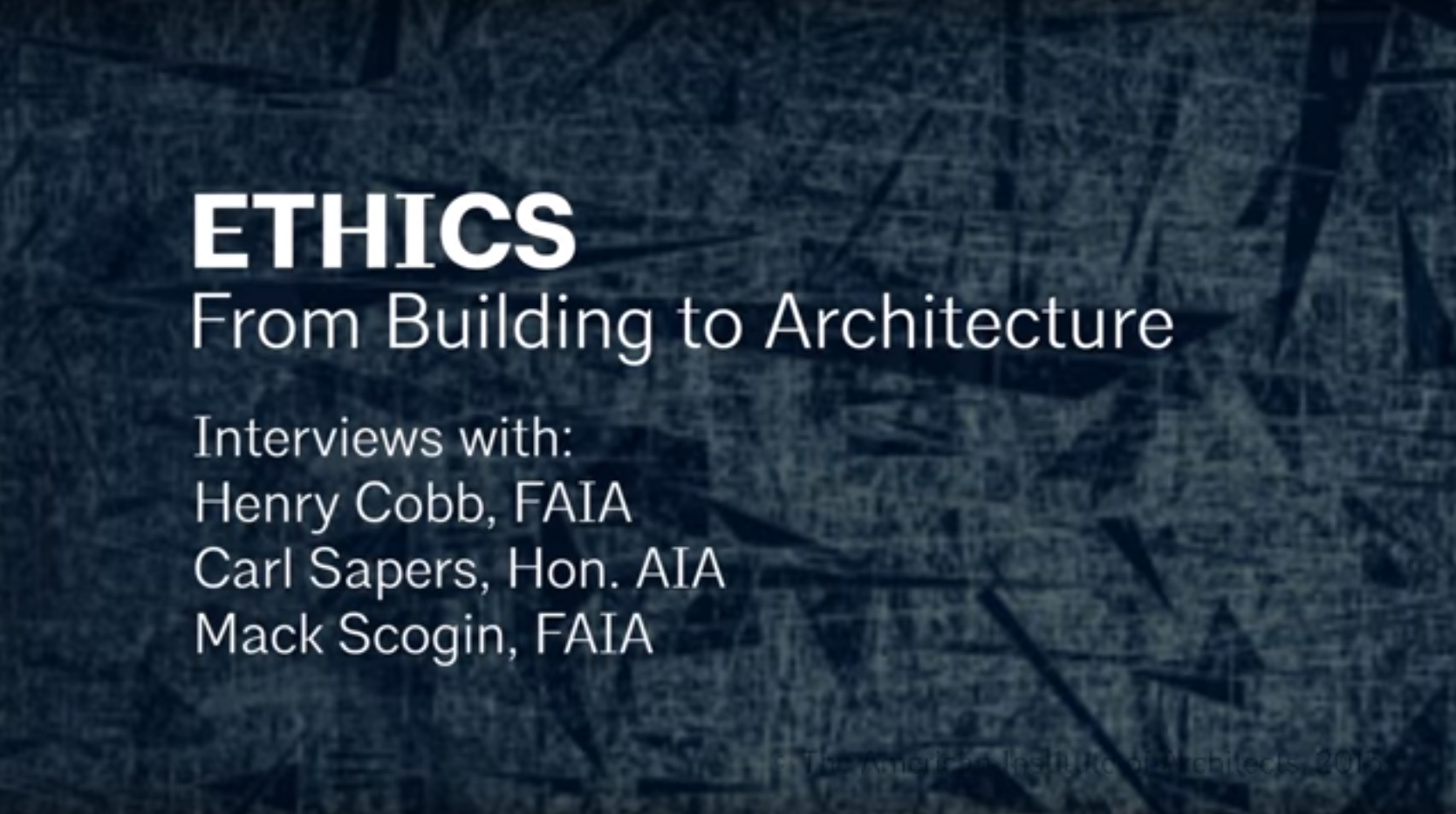 Ethics in Architecture Video