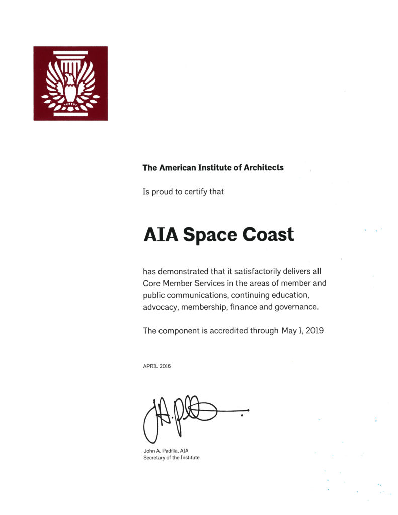 2016-05-01_AIA-Accreditation_AIA-SpaceCoast_Certificate